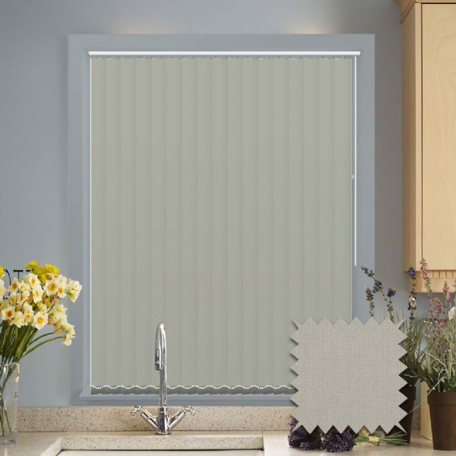 Made to measure vertical blinds in Guardian flint plain fabric - Just Blinds